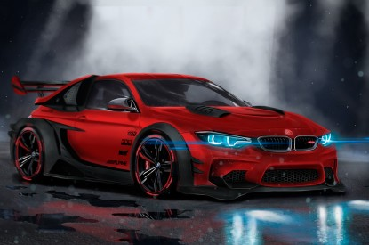 BMW, BMW M4, Custom, CGI, Neon, Sport car, HD, 2K, 4K