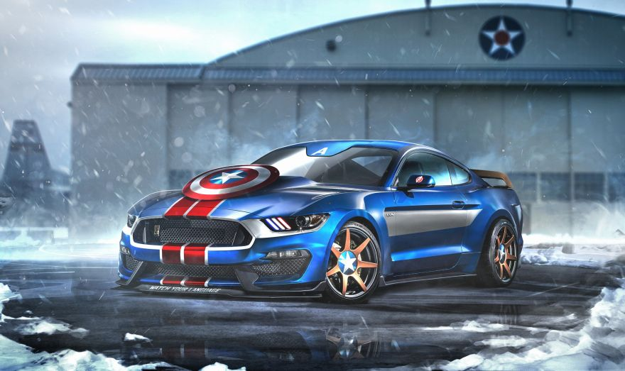 Captain, Captain America, Ford, Mustang GT350R, HD, 2K